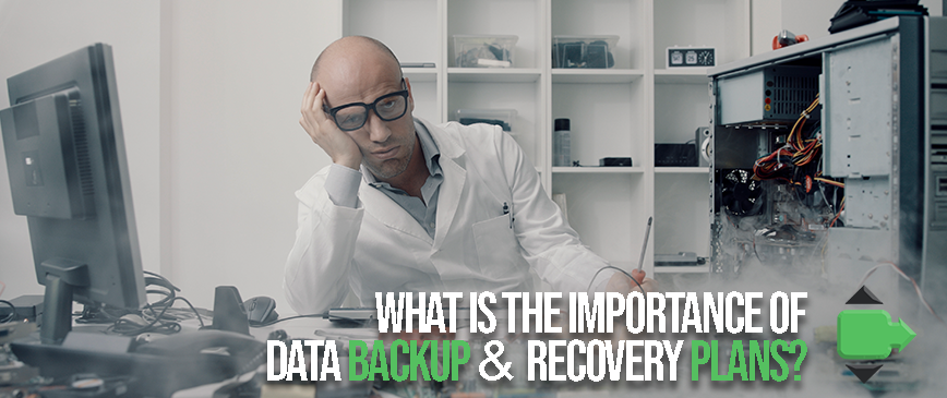 Data backup and recovery plans blog header of a man upset he lost all is data because he didn't secure it with Cinch IT of Troy, MI